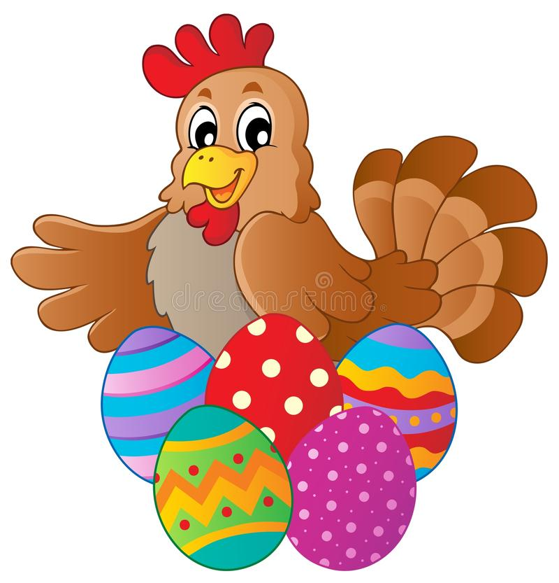 Download Hen With Various Easter Eggs Stock Vector - Image: 23871261