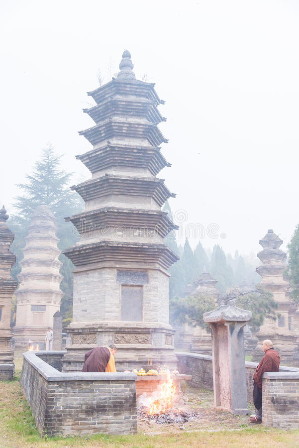 HENAN, CHINA - Nov 12 2015: Tomb Sweeping Ceremony in Talin(Buddhist Pagoda Forest), Shaolin Temple(World Heritage stock photo