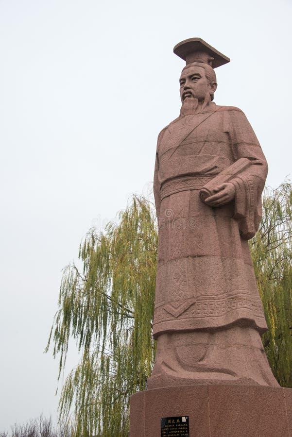 HENAN, CHINA - 28. NOVEMBER 2014: Statue von König Wen von Zhou bei Youlic lizenzfreies stockfoto