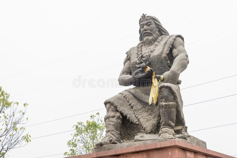 HENAN CHINY, Nov, - 17 2015: Suiren statua przy Suiren grobowem (Suihuan obrazy royalty free