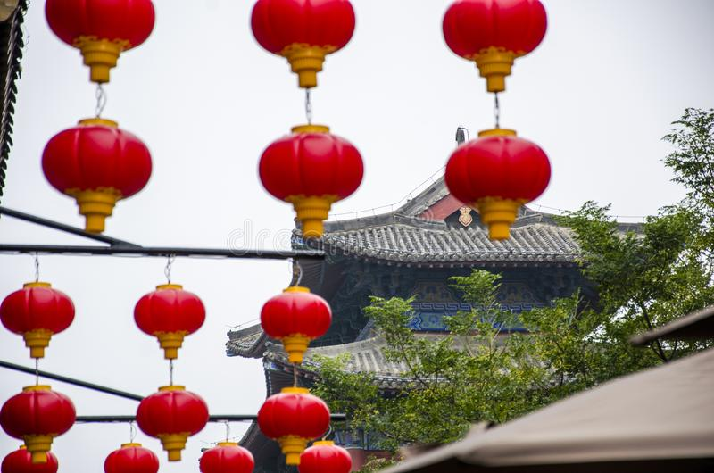 Red lantern and ancient architecture. Henan province has a long tradition culture and history which has many excellent cultural projects from time immemorial stock photo