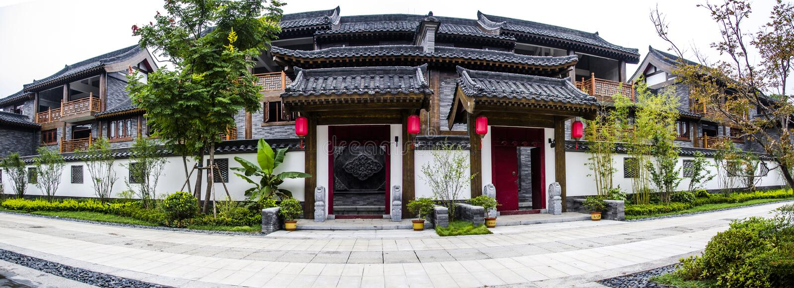 Red lantern and ancient architecture. Henan province has a long tradition culture and history which has many excellent cultural projects from time immemorial stock photos