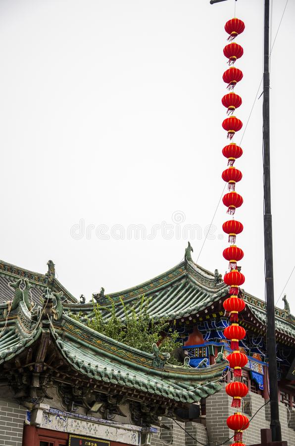 Red lantern and ancient architecture. Henan province has a long tradition culture and history which has many excellent cultural projects from time immemorial royalty free stock images