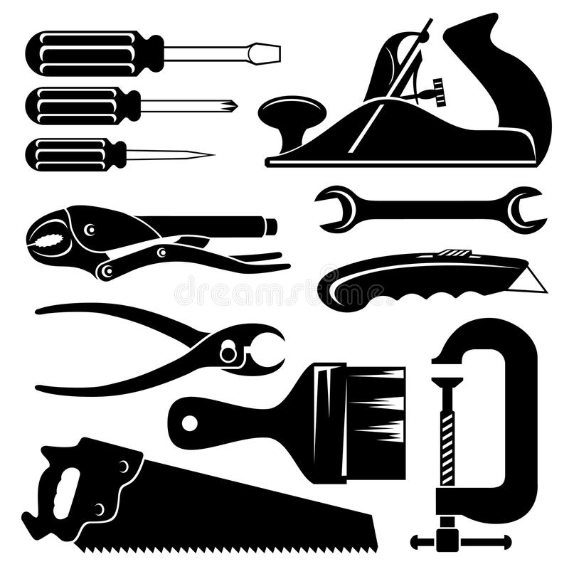 Hend tools. Set of vector silhouette icons of hend tools stock illustration
