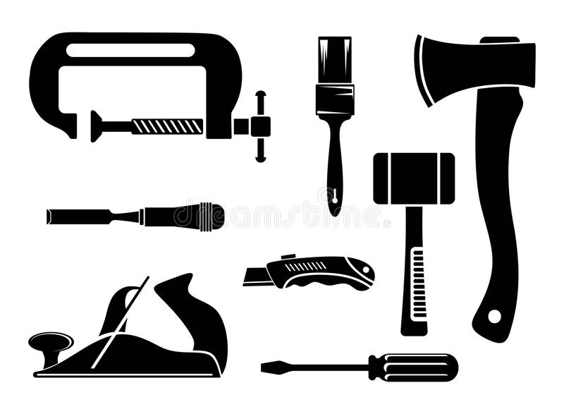 Hend tools. Silhouette icons of hend tools vector illustration
