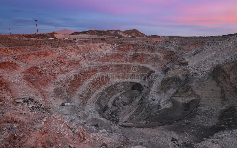 HENDERSON, NEVADA, UNITED STATES - Sep 15, 2018: Three Kids Mine; Henderson, Nevada. HENDERSON, NEVADA, UNITED STATES - Sep 15, 2018: The abandoned open pit of royalty free stock photos