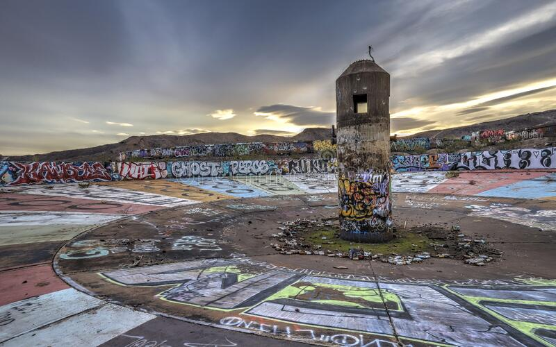 HENDERSON, NEVADA, UNITED STATES - Sep 15, 2018: Three Kids Mine; Henderson, Nevada. HENDERSON, NEVADA, UNITED STATES - Sep 15, 2018: The ruins of the Three Kids royalty free stock photography