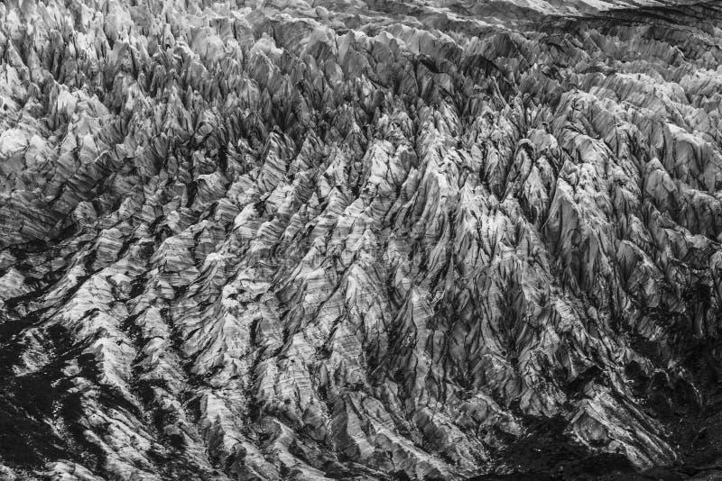 Hendiduras en el glaciar de Cerro Torre dentro de los glaciares parque nacional, la Argentina fotos de archivo libres de regalías