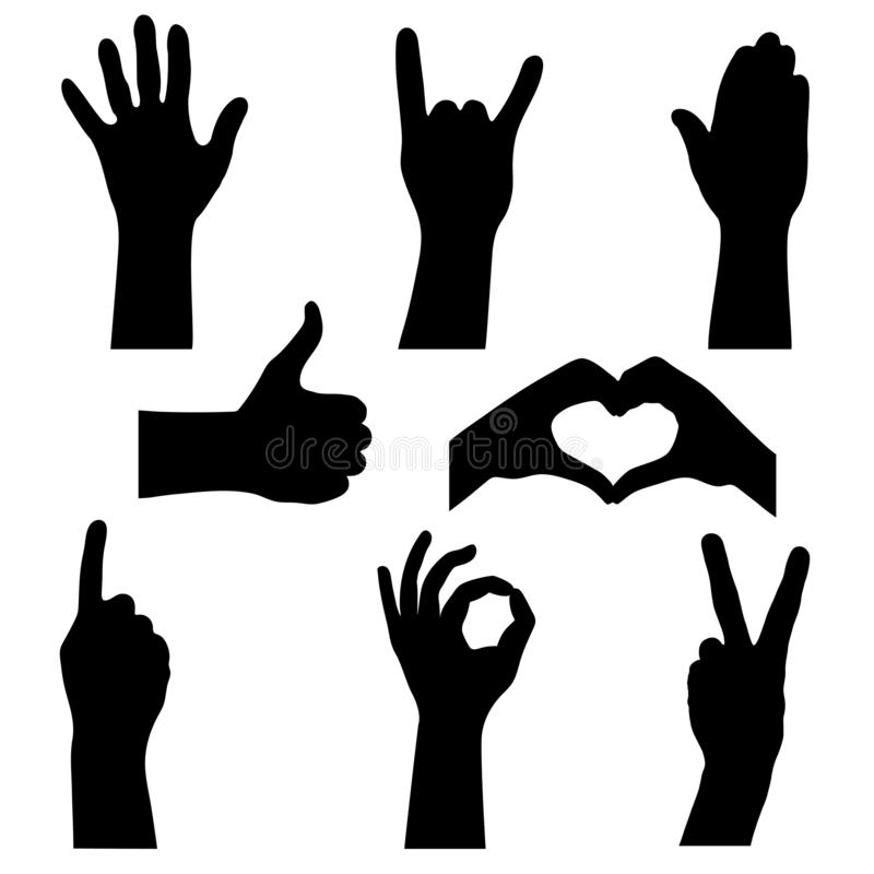 Set silhouettes human hands vector illustration