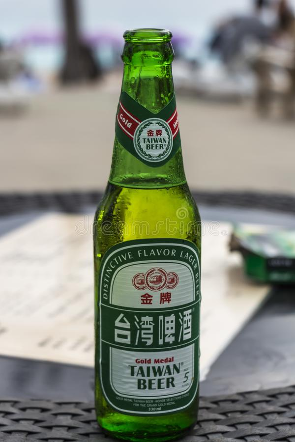 Chilled bottle of Taiwan Beer at Baisha Beach royalty free stock images