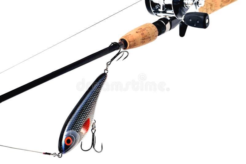 Hengel, spoel, wobbler, de gevlechte leiband van het vislijnmetaal jer stock afbeelding