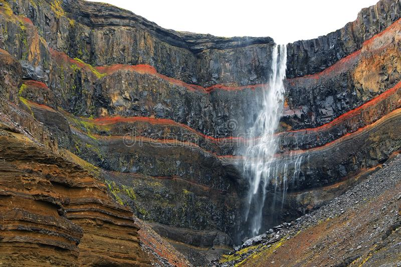 The Hengifoss waterfall in Iceland. stock photography