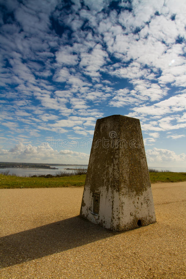 Hengistbury Trig Point. Trig Point on Warren Hill, Hengistbury Head, Christchurch, Dorset, England, United Kingdom royalty free stock images