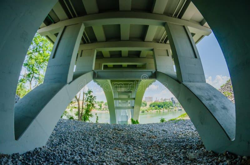 Henley Bridge sopra Tennessee River Knoxville fotografia stock