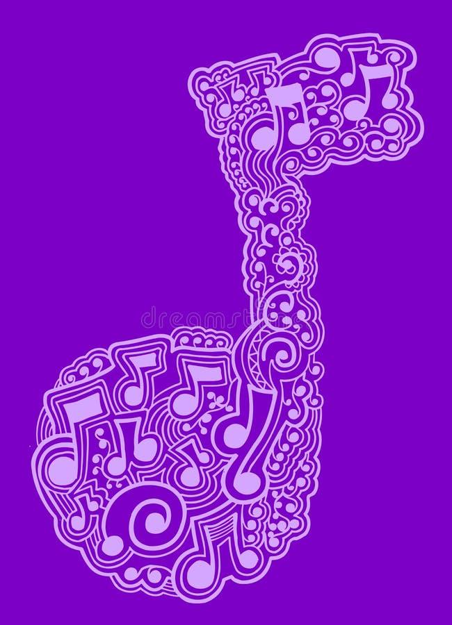 Hennè di doodle di abbozzo della nota di musica royalty illustrazione gratis