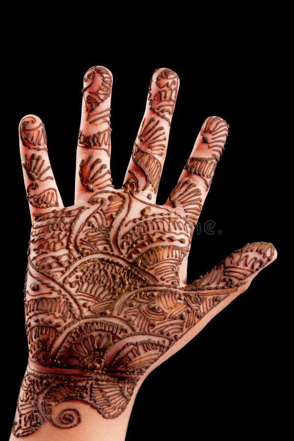 Henné (Mehndi) sur une main de petite fille photographie stock libre de droits