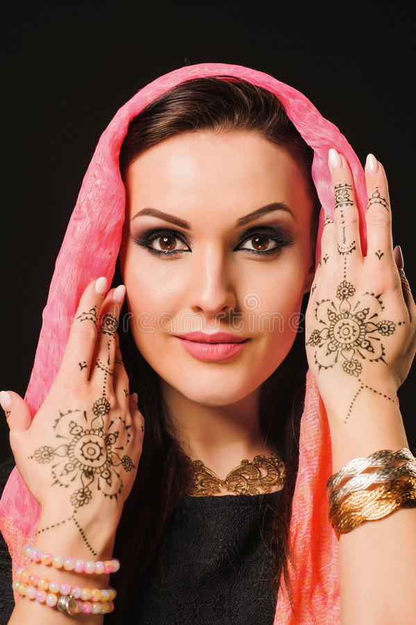 Henné, mode, fille, dame, maquillage, tatouage, voile, oriental, musl images stock