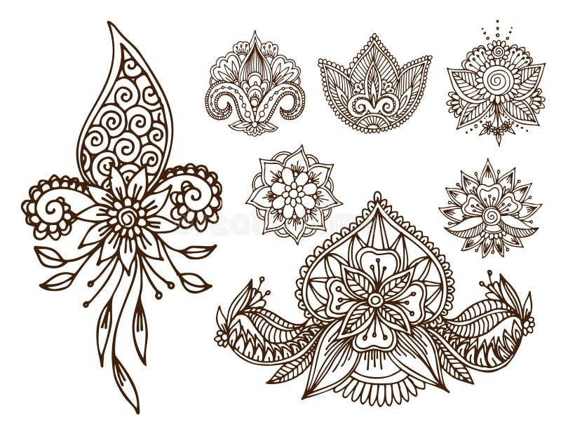 Henna δερματοστιξιών mehndi καλλωπισμός mhendi του Paisley σχεδίων σχεδίου λουλουδιών doodle διακοσμητικός διακοσμητικός ινδικός  απεικόνιση αποθεμάτων