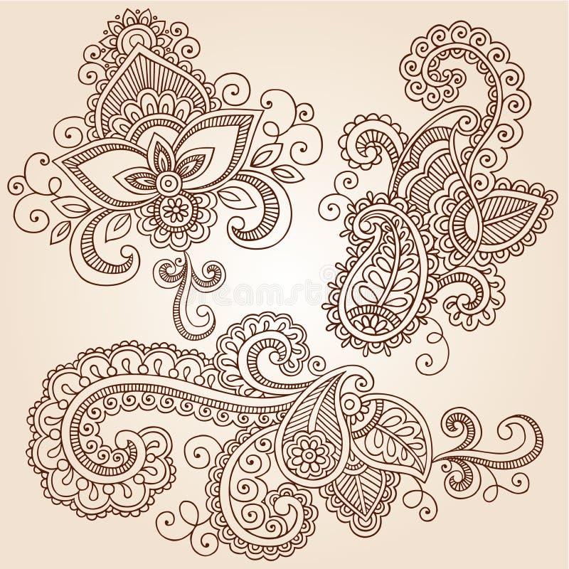 Henna διανυσματικά στοιχεία σχεδίου δερματοστιξιών Doodles Mehndi διανυσματική απεικόνιση
