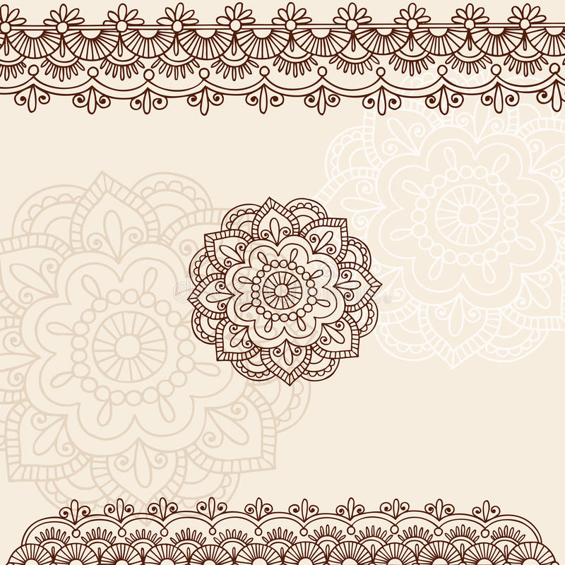Henna διανυσματικό σχέδιο Mehndi Paisley Doodle ελεύθερη απεικόνιση δικαιώματος