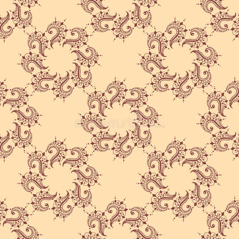 Henna δερματοστιξιών άνευ ραφής σχεδίων mehndi mhendi του Paisley σχεδίων σχεδίου λουλουδιών doodle διακοσμητικό διακοσμητικό ινδ απεικόνιση αποθεμάτων