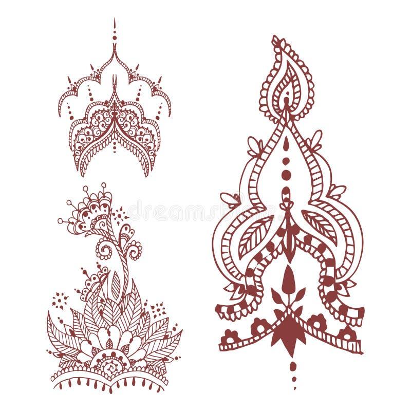 Henna δερματοστιξιών καφετί mehndi mhendi του Paisley σχεδίων σχεδίου λουλουδιών doodle διακοσμητικό διακοσμητικό ινδικό arabesqu διανυσματική απεικόνιση