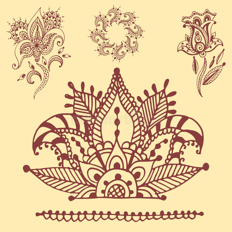 Henna δερματοστιξιών καφετί mehndi mhendi του Paisley σχεδίων σχεδίου λουλουδιών doodle διακοσμητικό διακοσμητικό ινδικό arabesqu ελεύθερη απεικόνιση δικαιώματος