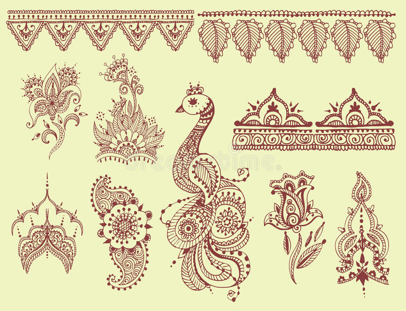 Henna διακοσμητικός διακοσμητικός λουλουδιών mehndi δερματοστιξιών καφετής doodle διανυσματική απεικόνιση