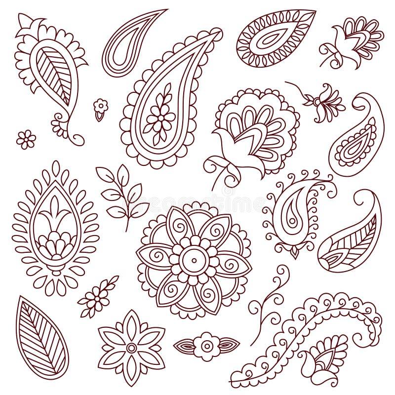 Henna διανυσματικά στοιχεία δερματοστιξιών doodle στο άσπρο υπόβαθρο ελεύθερη απεικόνιση δικαιώματος