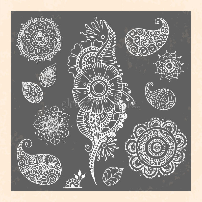 Henna διανυσματικά στοιχεία δερματοστιξιών doodle στο Μαύρο ελεύθερη απεικόνιση δικαιώματος
