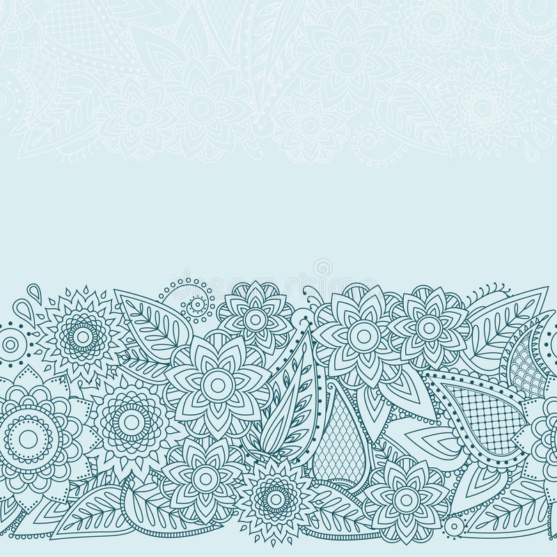 Henna διανυσματικό άνευ ραφής σχέδιο σχεδίου Mehndi λουλουδιών ελεύθερη απεικόνιση δικαιώματος