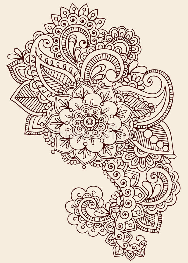 Henna διανυσματικό σχέδιο Mehndi Paisley Doodle διανυσματική απεικόνιση