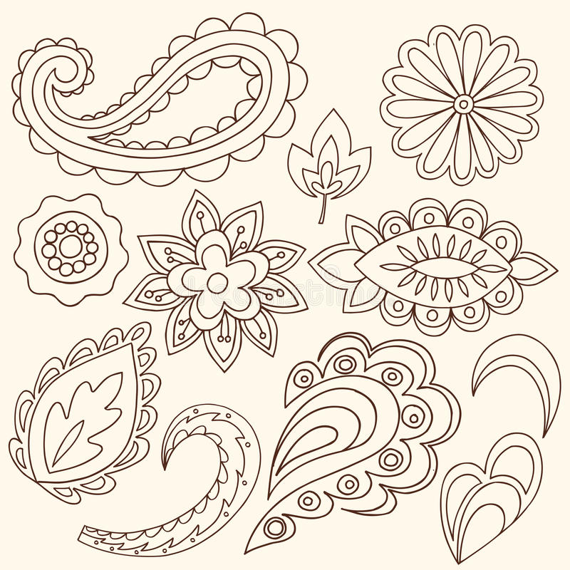 Henna λουλούδια Mehndi και διάνυσμα του Paisley διανυσματική απεικόνιση