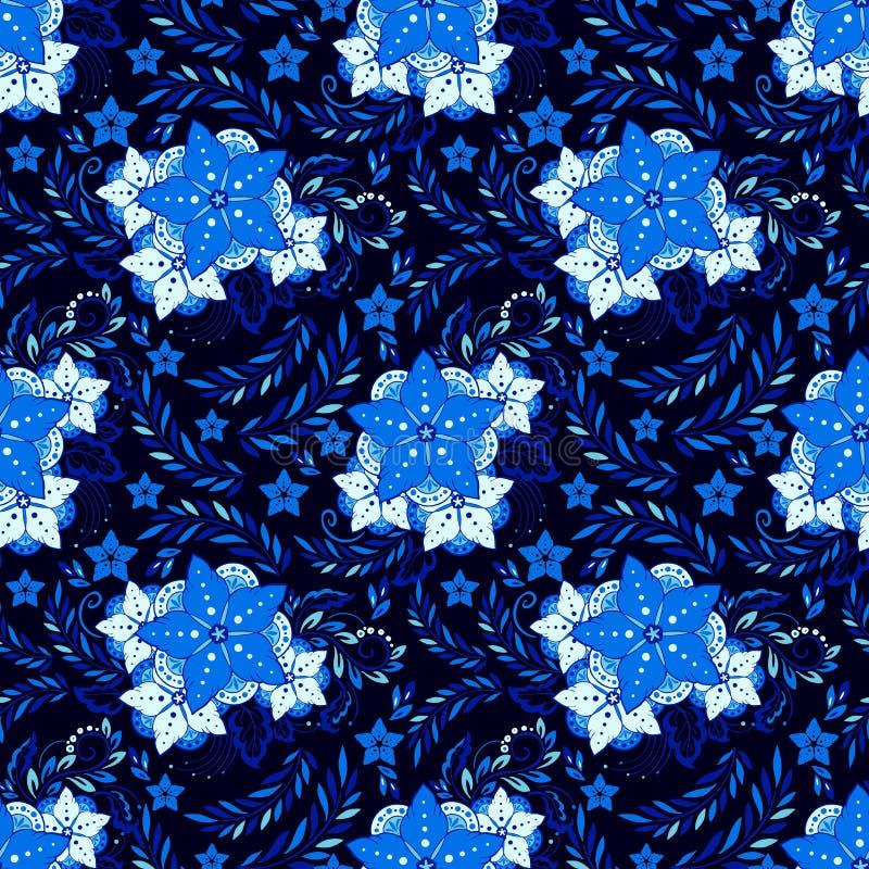 Henna πορσελάνης στοιχειώδης απεικόνιση λουλουδιών διανυσματική απεικόνιση