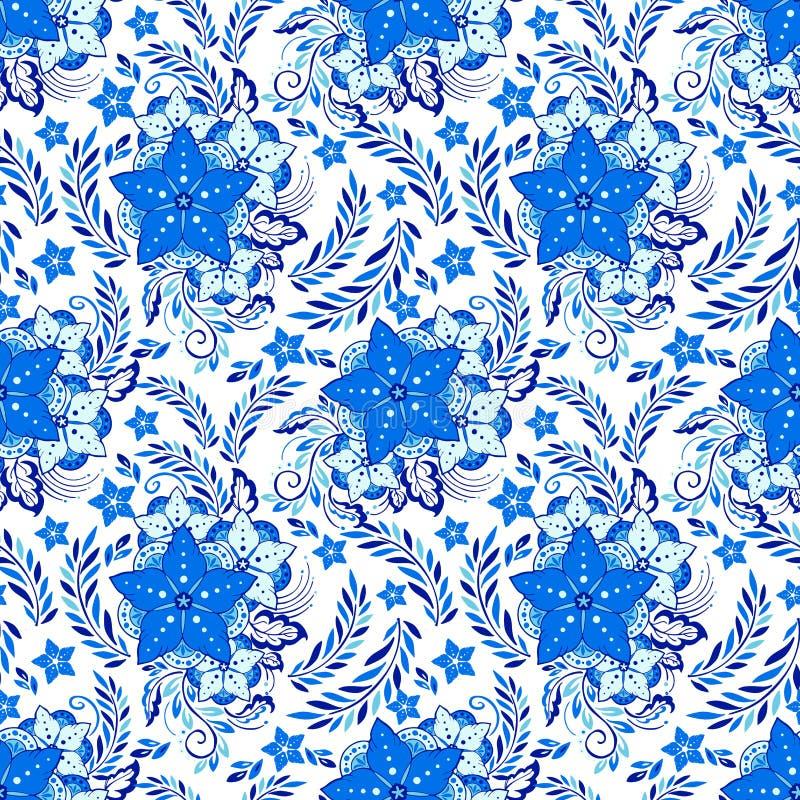 Henna πορσελάνης στοιχειώδης απεικόνιση λουλουδιών απεικόνιση αποθεμάτων