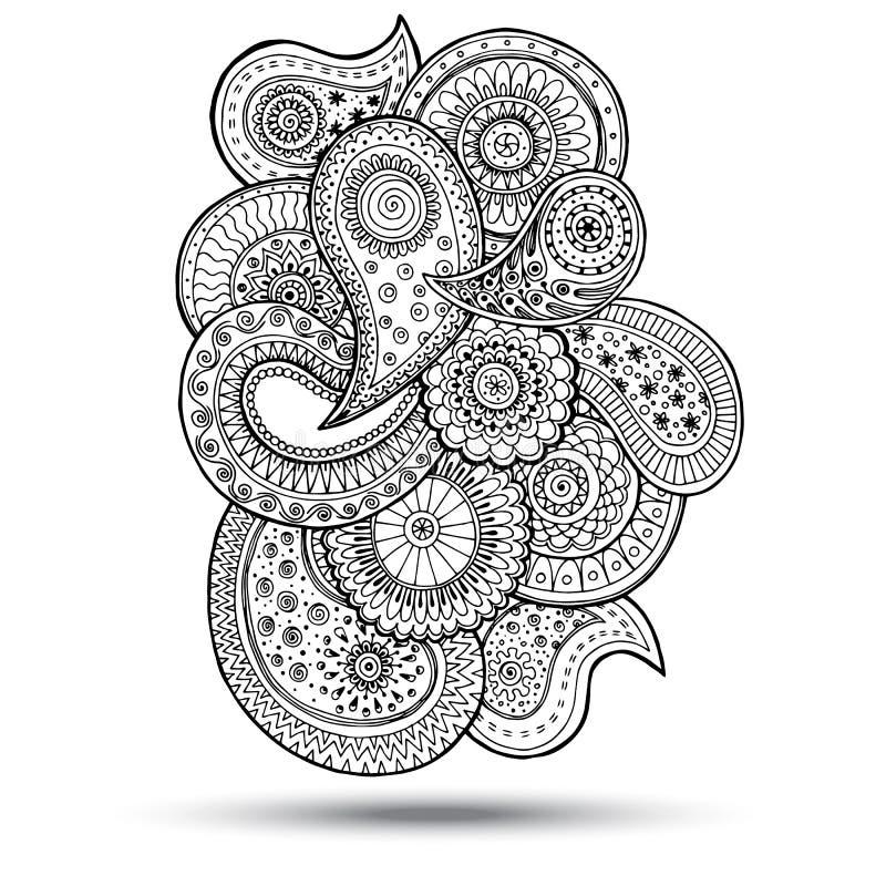 Henna στοιχείο σχεδίου του Paisley Mehndi Doodles ελεύθερη απεικόνιση δικαιώματος