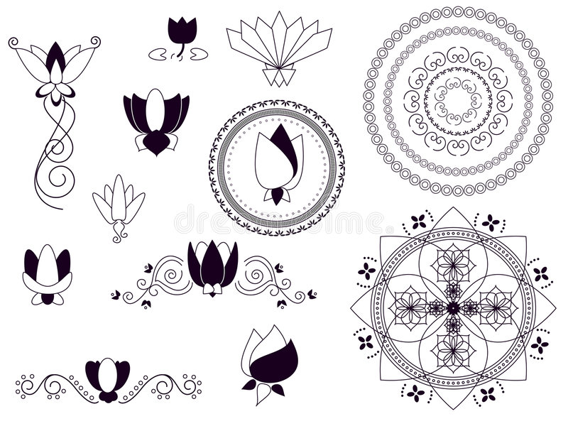 henna στοιχείων λωτός διανυσματική απεικόνιση