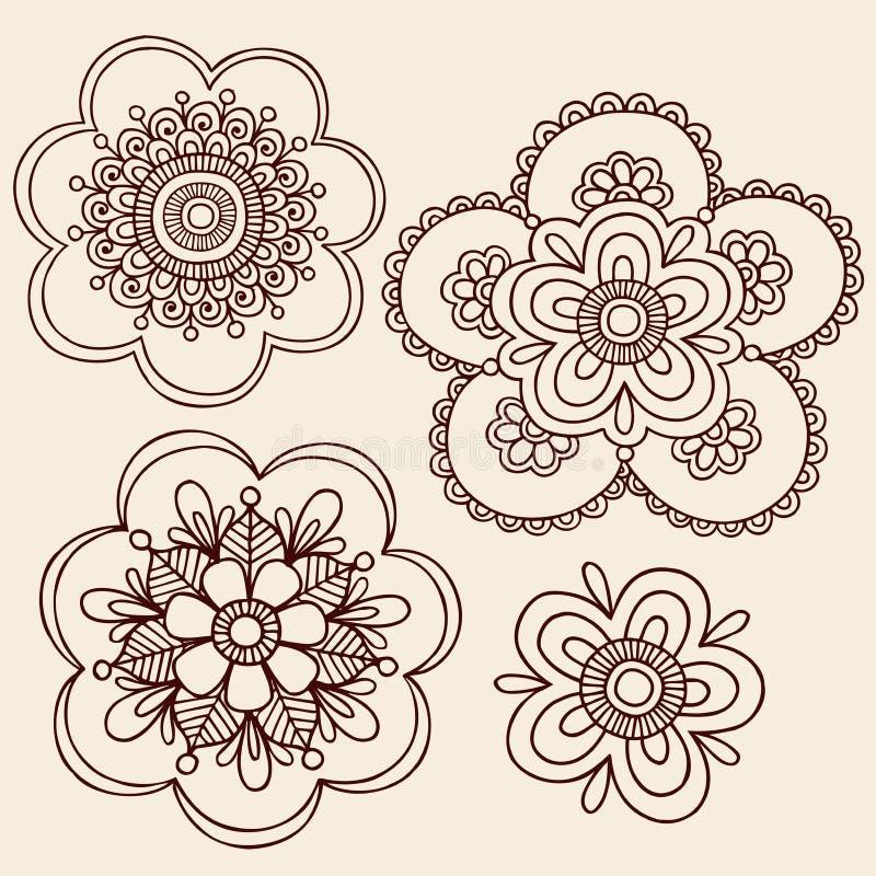 Henna σχέδιο Doodle λουλουδιών Mehndi Paisley διανυσματική απεικόνιση