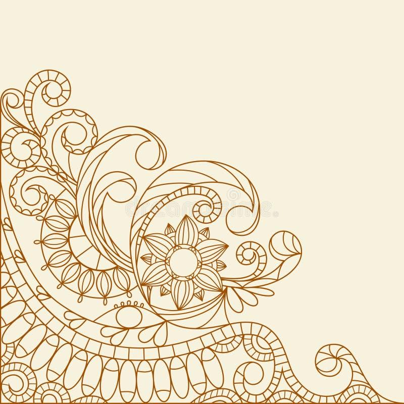 Henna abstrato Hand-Drawn Mehndi ilustração stock