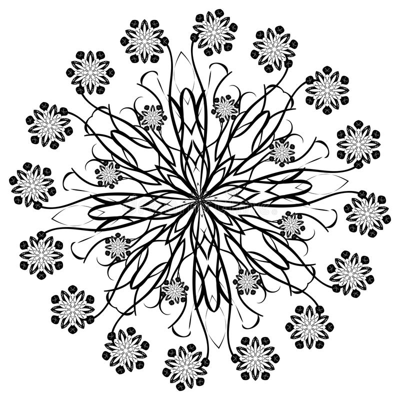 Henna Beautiful Deco Black Floral Mandala vektor illustrationer