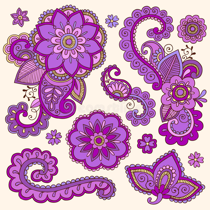 Henna Mehndi Vector Free Download : Henna colorful mehndi tattoo doodles vector royalty free stock photo image