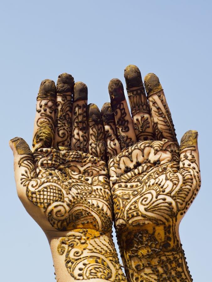 Mehndi Hands Xl : Henna design on hands stock image of sajda show