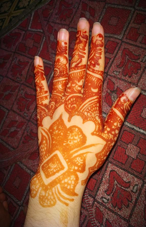 Arabic Henna Designs For Girls. Henna designs for girls stock photo