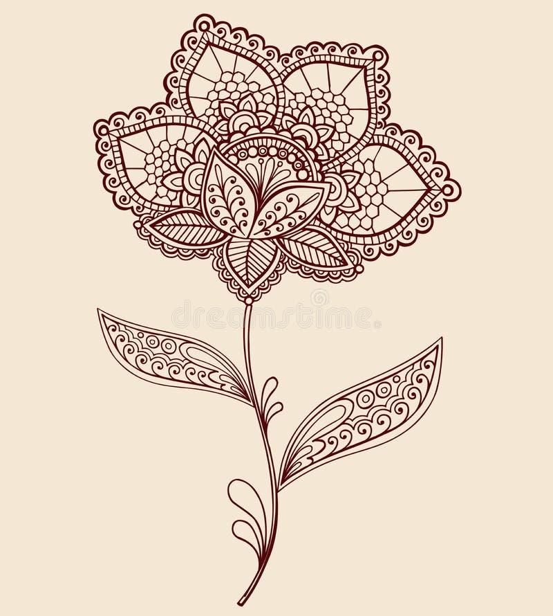 Henna Doily δαντελλών σχέδιο Doodle λουλουδιών του Paisley διανυσματική απεικόνιση