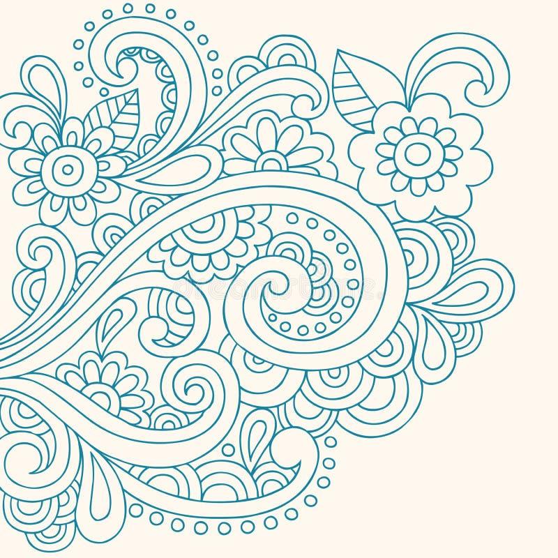 Henna Doodle αφηρημένο διάνυσμα λουλουδιών και στροβίλων διανυσματική απεικόνιση