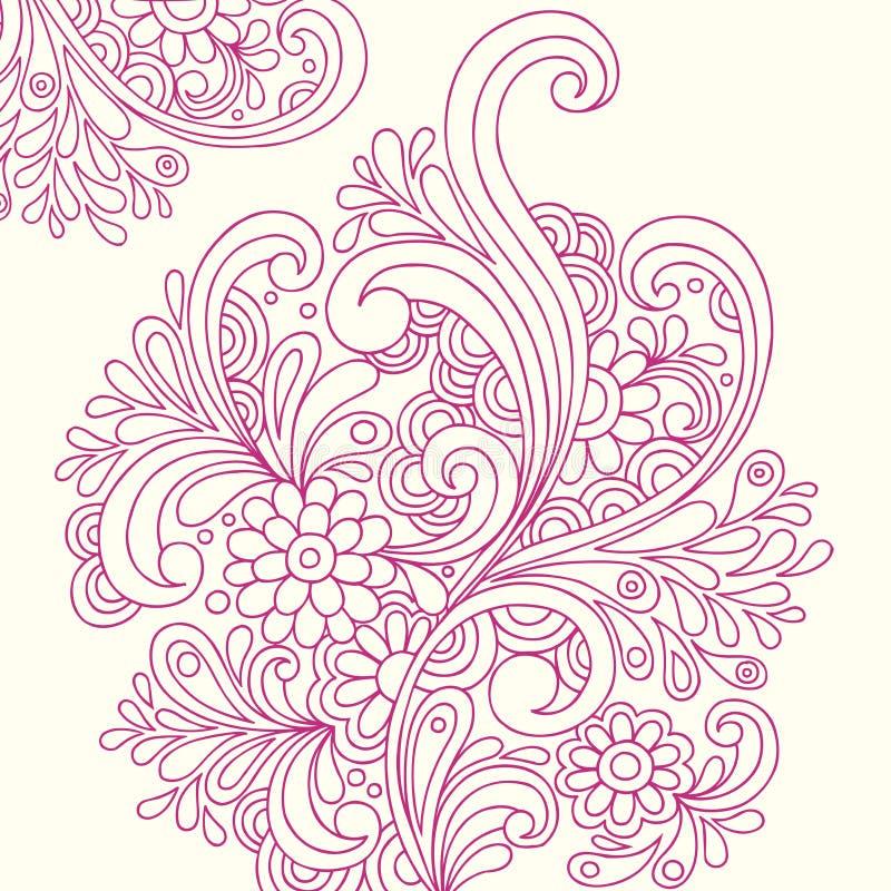 Henna Doodle η περίληψη ανθίζει το διάνυσμα απεικόνιση αποθεμάτων
