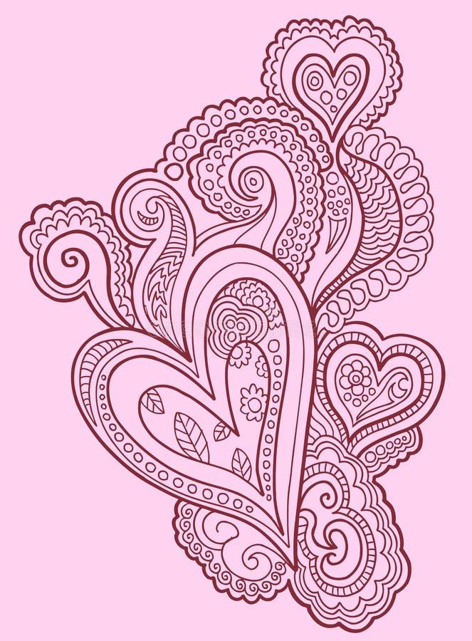 Henna doodle σχέδιο καρδιών ελεύθερη απεικόνιση δικαιώματος