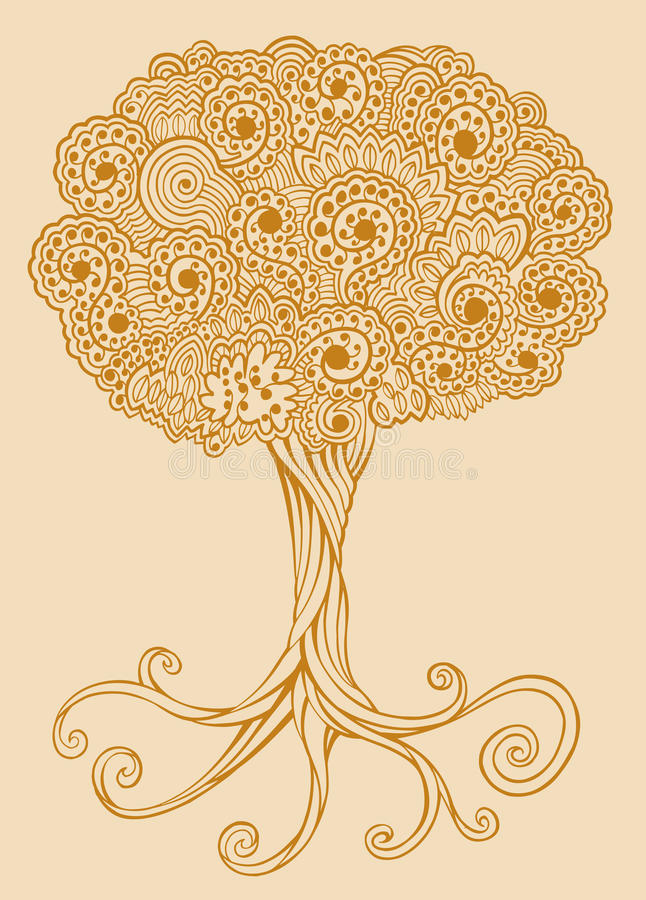Henna doodle Tree vector royalty free illustration