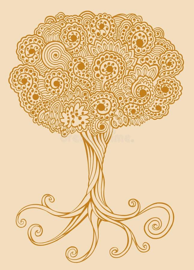 Henna doodle Tree vector. Henna Sketch doodle Tree