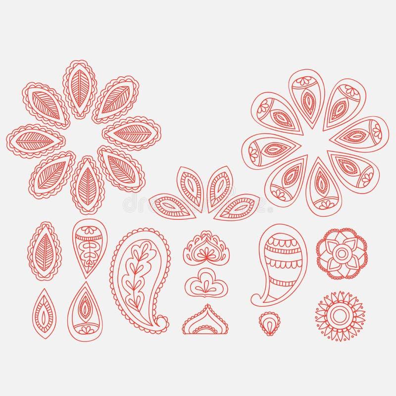 Henna floral στοιχεία σχεδίου doodle δερματοστιξιών, ινδικό mehndi τέχνης γραμμών στο άσπρο υπόβαθρο απεικόνιση αποθεμάτων